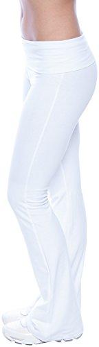 Popular Basics Women's Cotton Yoga Pants With Tie-Dye Fold Down Waist