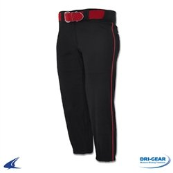 Champro Women's Sports Performance Pants with Piping, Black/Red Pipe, Small