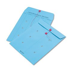 Colored Paper String & Button Interoffice Envelope, 10 x 13, Blue,100/