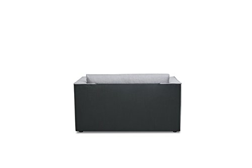 Container Furniture Direct Ava Collection Modern Reversible Fabric Upholstered Living Room Loveseat and Sofa Bed, Gray