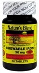 Blend Iron - Nature's Blend Chewable Iron Sugar Free 30MG 60 COUNT