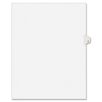 - Avery 01410 Exhibit Side Tab Divider, Printed: J, Letter Size, White, 25/Pack