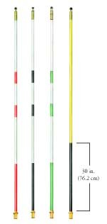 7' Bright White Striped Regulation Fiberglass Flagsticks from Par Aide - Set of 9