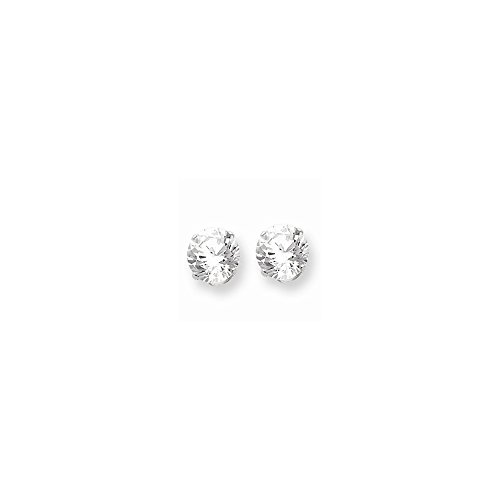 - Sterling Silver 9mm Round Snap Set CZ Stud Earrings
