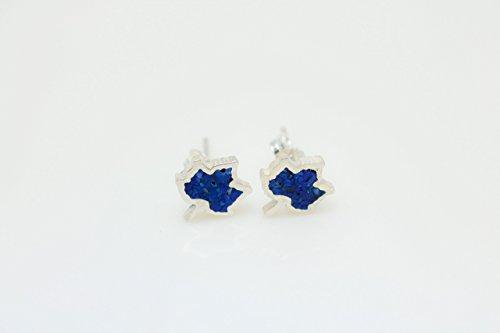 Maple Leaf Lapis Lazuli Micro Mosaic Sterling Silver Stud Earrings, Semi Precious Gemstone by Handmade Studio - Lapis Lazuli Tiles