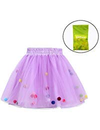 Tutu Skirt GoFriend Baby Girls Tulle Princess Dress 4-layer Fluffy Ballet Skirt with Little Pom Pom Puff Ball (L, Light Purple) (Triple Layer Girl Dress)