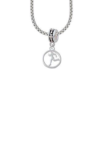 1/2' Enamel Jewelry Pendant - Runner Silhouette in 1/2'' Disc Cross Bead Necklace