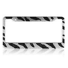 (Billion_Store Zebra Crystal Rhinestones License Plate Frame Black and Clear The Best Accessories for Cars and Motorcycles)