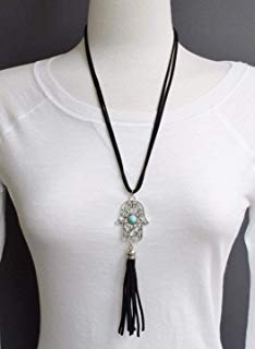 Black hamsa necklace 22 long necklace faux leather cord tassel hand filigree