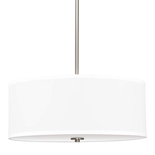 Kira Home Nolan 18 Classic 3-Light Drum Pendant Chandelier, White Fabric Shade Round Glass Diffuser, Adjustable Height, Brushed Nickel Finish