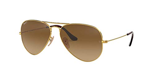 - Ray-Ban Original Aviator Sunglasses (RB3025) Gold/Brown Metal - Polarized - 58mm