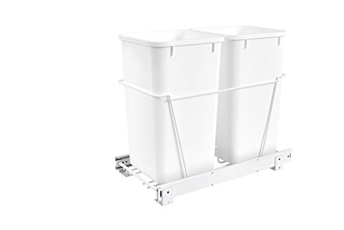 (Rev-A-Shelf - RV-15PB-2 S - Double 27 Qt. Pull-Out White Waste Containers with Full-Extension Slides)