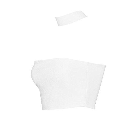 HLBandage Halter Neck Open Chest Rayon Short Bandage Crop Top Blanco