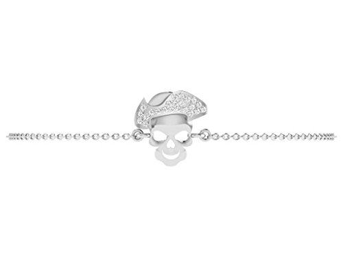 Or Blanc 14 ct Bracelet Diamant en forme de crâne, 0.05 Ct Diamant, GH-SI, 2.28 grammes.