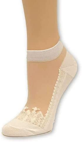 Pretty White Patterned Ankle Sheer