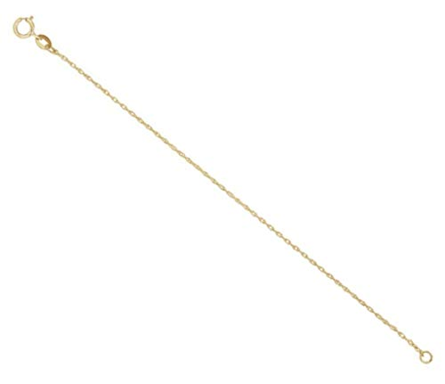 1.5mm 14k Yellow Gold Rope Chain Necklace Extender or Safety Chain, 2.25