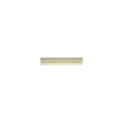 Eckler's Premier Quality Products 57-130596 Chevy Hood Script Emblem, Bel Air 6-Cylinder, Gold,