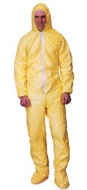 Tyvek QC Coveralls, Sewn and Bound Seams with Hood, Boots and Elastic Wrists (12 per case) - Size 2X-Large Sunrise