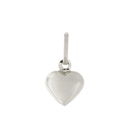14k White Gold Tiny Puffed Heart Pendant Necklace - pendant only
