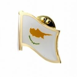 Cyprus Country Flag Small Metal Lapel Pin Badge .. 3/4 X 3/4 Inches ... New