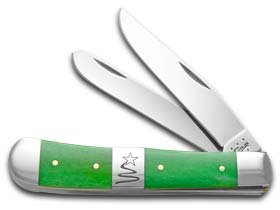 Case XX Knife 65580 Smooth Green Bone/center Bolster TRAPPER-CHRISTMAS Tree