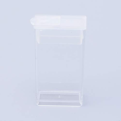 NBEADS 100 Pcs Clear Plastic Rectangle Mini Beads Storage Containers Box Case with lid for Small Items,Pills,Herbs,Tiny Bead and Jewerlry Findings