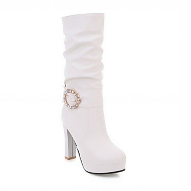 Heart&M Mujer Zapatos Semicuero Primavera Invierno Botas de Moda Botas Tacón Robusto Dedo redondo Mitad de Gemelo Pedrería Para Casual Blanco black