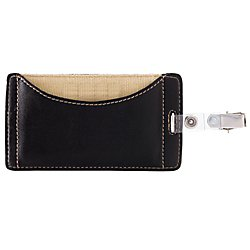 FORAY(TM) Faux Leather Badge Holder, Black (Office Foray Depot)