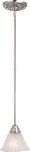 Maxim 91064MRSN Newport 1-Light Mini Pendant, Satin Nickel Finish, Marble Glass, MB Incandescent Incandescent Bulb , 100W Max., Dry Safety Rating, Standard Dimmable, Glass Shade Material, 10350 Rated Lumens - Nickel Newport 1 Light