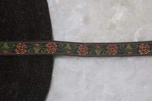 "1 Yard Black Olive Green Rust Peach Orange Jacquard Woven Ribbon Trim 1/2"" Florist, Flowers, Arts & Crafts Gift Wrapping"