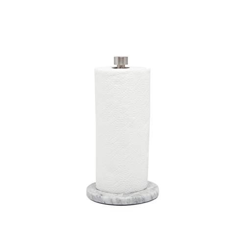 Umbra Marla Real Marble Base, White/Nickel Paper Towel Holder,