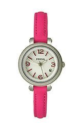 (Fossil Heather Three Hand Leather Watch - Pink Es3302)
