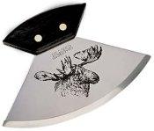 "6"" Walnut Ulu with Moosehead Etching Knife"