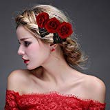 ClassicBeauty Elegant Red Rose Hair Clip New 2018 Wedding Women and Girls Hair Accessories Bridesmaids Headpiece
