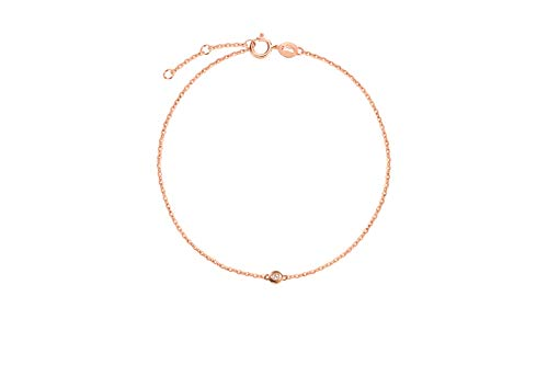 Carleen 18K Solid Gold One Diamond Bracelet Minimalist Dainty Delicate Fine Jewelry for Women Girls (Rose Gold)