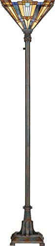 Quoizel TFIK9471VA Inglenook Stained Glass Tiffany Uplight Floor Lamp, 1-Light, 150 Watts, Valiant Bronze 71 H x 16 W