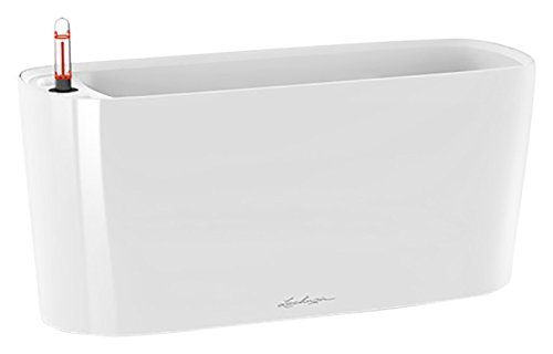 Lechuza 15560 Self-Watering Garden Planter, White High Gloss