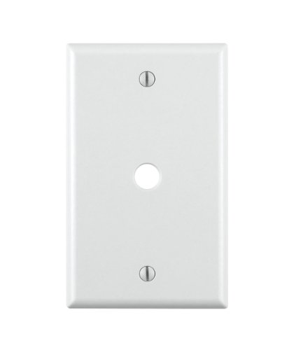 Leviton 88013 001-000 Standard Size Telephone/Cable Wall Plate, 1 Gang, 4-1/2 in L X 2-3/4 in W 0.22 in T, pack of 1, White (Cover Cable Switch)