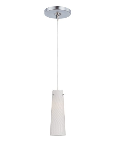 ET2 Lighting E94439-112SN Mini Pendant with White Spiral Glass Shade, Satin Nickel Finished