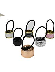 Pack of 6 Alloy Metal Glitter Cuff Wrap Ponytail Holder Hair Tie Fashion Accessory Set for Women -