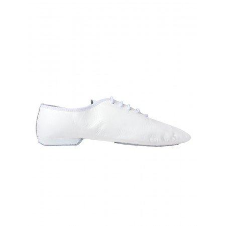 Rumpf Jazzschuhe Basic II 1270 für Gymnastik Jazz Tanz, Leder mit geteilter Chromledersohle Farbe weiß, Größe 31,5 - 32