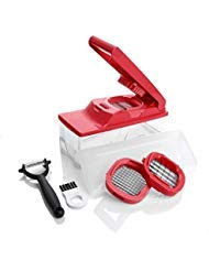 Kitchen Master Multipurpose Slicer/Dicer with Peeler Tool - Red by 10-3/4''L x 4-3/8''W x 5-7/8''H