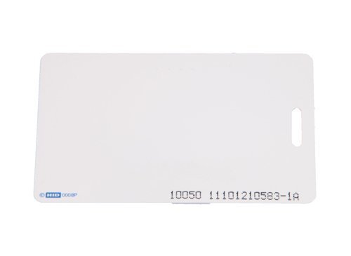 HID Corporation 1386 ISOProx II PVC Gloss Finish Imageable Proximity Access Card, Vertical Slot Punch, 2-1/8'' Length x 3-23/64'' Height x 3/128'' Thick, Plain White (50) by HID