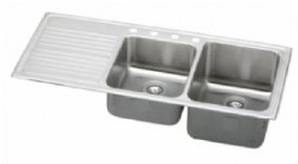 Elkay ILGR4822R2 Gourmet Lustertone Double Bowl Sink with Two Holes and Left Ribbed Area, Stainless ()