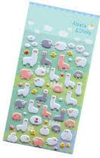 Lexi Blue Llamas Alpaca Sheep Stickers 3-D Puffy