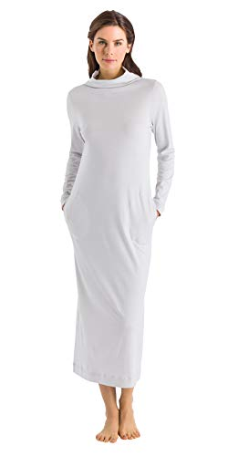 HANRO Women's Liara Sleeve Long Gown, Shell, X-Small
