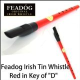 Irish Feadog Brass D Tin Penny Whistle (Red)