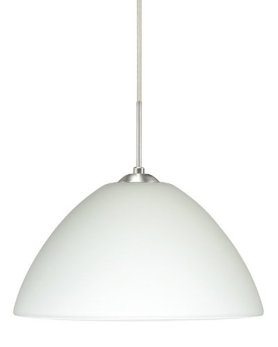 Besa Lighting 1JC-420107-LED-SN 1X6W GU24 Tessa LED Pendant with White Glass, Satin Nickel Finish