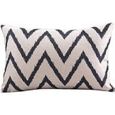 Angel Decor 12 *20  Rectangle Cotton Linen Decorative Home Sofa Throw Pillow Case Cushion Cover Simple Zigzag Black & White