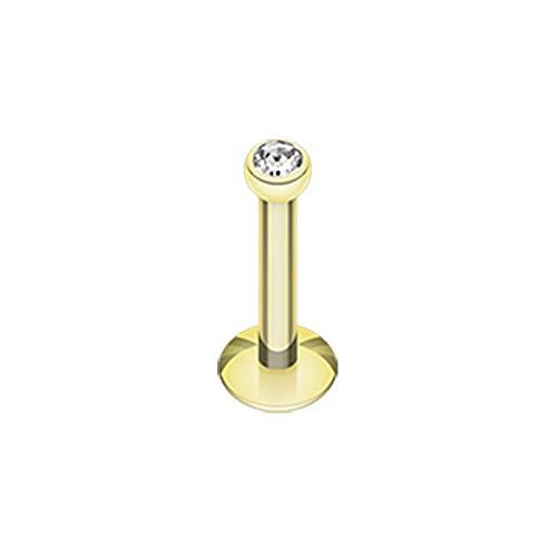 Covet Jewelry Gold Plated Gem Ball Internally Threaded Labret (16 GA, Length: 8mm, Ball: 2mm, Clear)